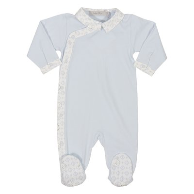 Sky blue cotton jersey romper