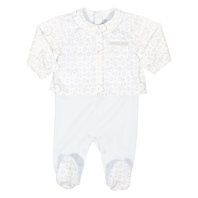 White and sky blue cotton romper
