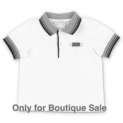 Baby Dior white piqué cotton polo shirt