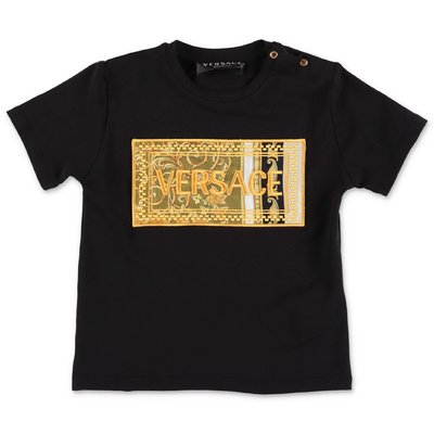 YOUNG VERSACE t-shirt nera in jersey di cotone con logo 90's