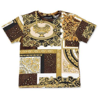 YOUNG VERSACE t-shirt stampa barocca oro in jersey di cotone