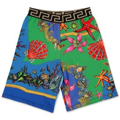 YOUNG VERSACE printed cotton sweat shorts