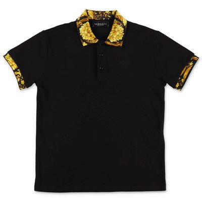 YOUNG VERSACE black cotton piquet polo