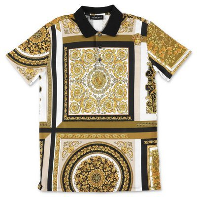 YOUNG VERSACE baroque print cotton piquet polo