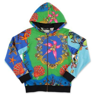 YOUNG VERSACE printed cotton hoodie