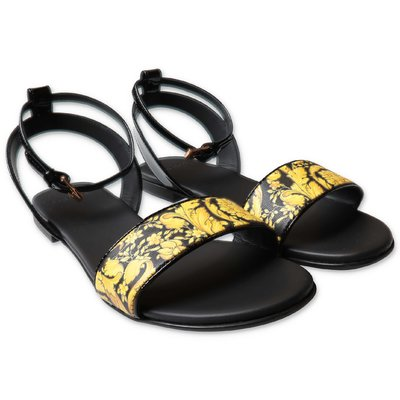 YOUNG VERSACE black leather sandals with ankle strap