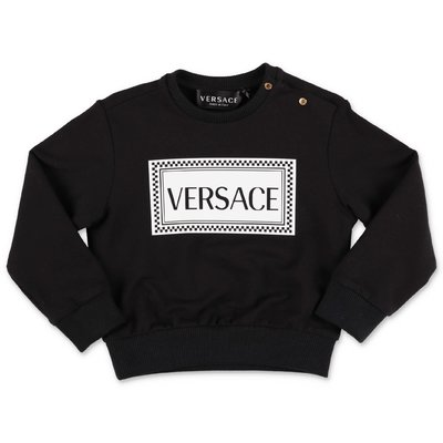YOUNG VERSACE black 90's logo cotton sweatshirt