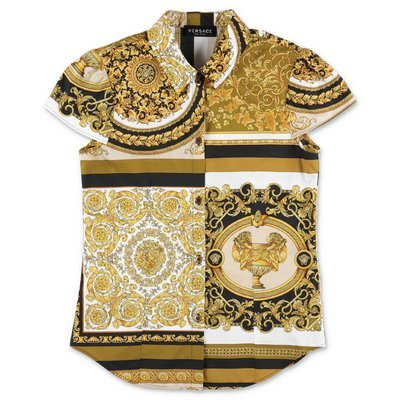 YOUNG VERSACE baroque print cotton poplin shirt