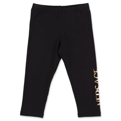 YOUNG VERSACE leggings neri in cotone stretch