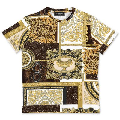 YOUNG VERSACE gold baroque print cotton jersey t-shirt