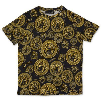 YOUNG VERSACE black gold Medusa cotton jersey t-shirt