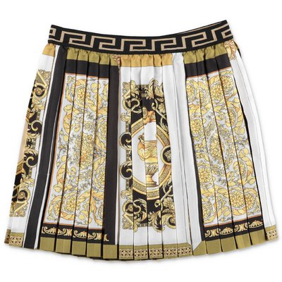YOUNG VERSACE baroque print techno fabric pleated skirt