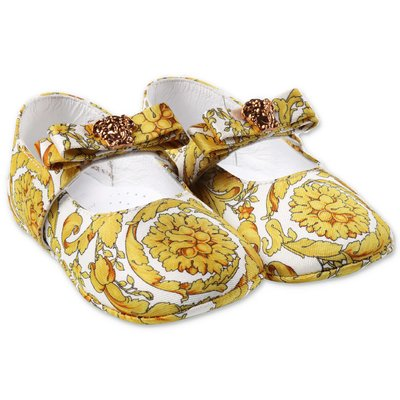 YOUNG VERSACE Mary Jane baroque print prewalker ballerinas