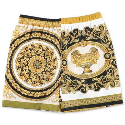 YOUNG VERSACE baroque print nylon swim shorts