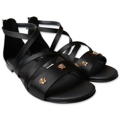 YOUNG VERSACE black satin sandals