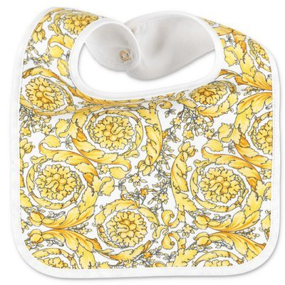 YOUNG VERSACE baroque print cotton jersey bib