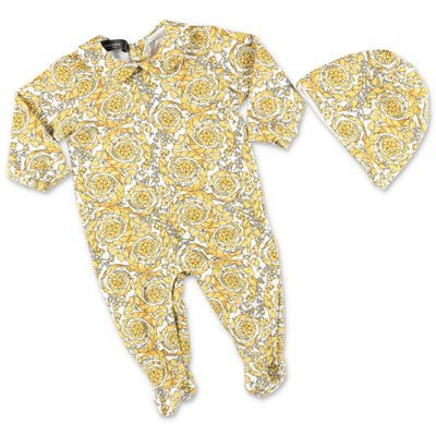 YOUNG VERSACE baroque print cotton jersey romper & hat set