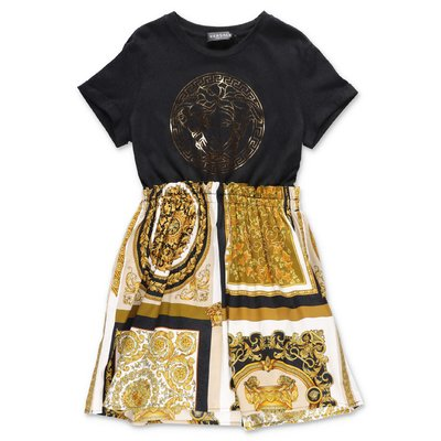YOUNG VERSACE contrasting panels cotton t-shirt dress