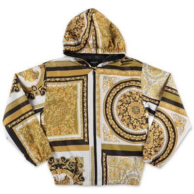 YOUNG VERSACE baroque print nylon windbreaker with hood