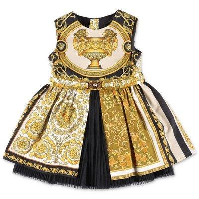 YOUNG VERSACE baroque print cotton poplin dress