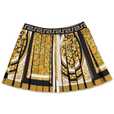 YOUNG VERSACE gold baroque print cotton poplin pleated skirt