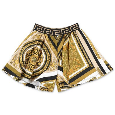 YOUNG VERSACE baroque print cotton sweat shorts