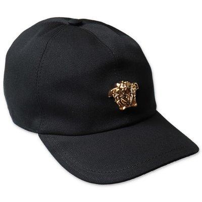 YOUNG VERSACE berretto da baseball nero in tela di cotone