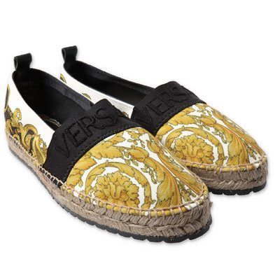 YOUNG VERSACE baroque print cotton canvas espadrilles