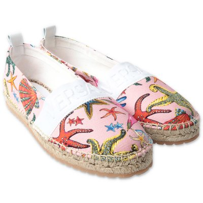 Young Versace pink printed cotton canvas espadrilles
