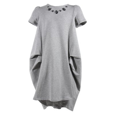 Marled grey cotton sweatshirt knee-length dress