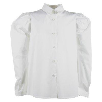 Camicia bianca in popeline di cotone con dettaglio plissè