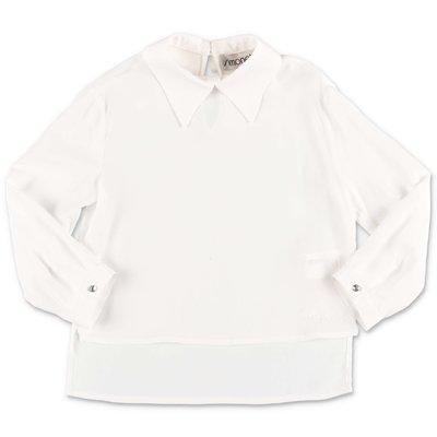 Simonetta white crepe de chine blouse