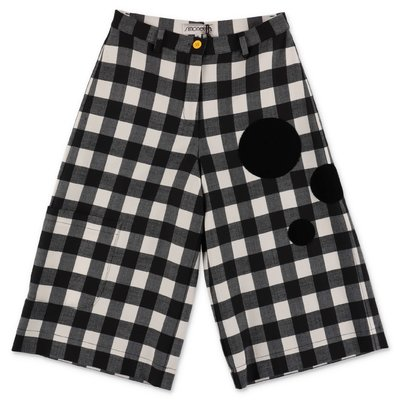 Simonetta black & white checked wool blend wide capri pants