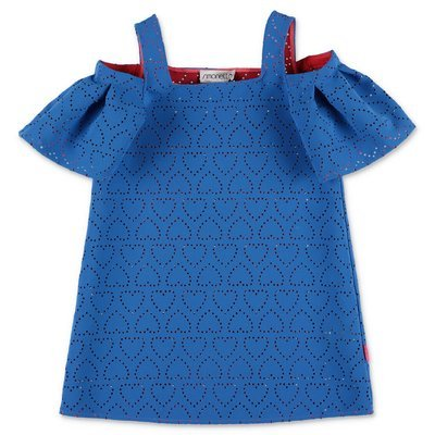 SIMONETTA blue lasered crepe dress