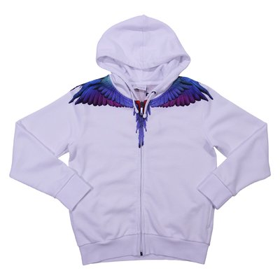 White wing print cotton sweatshirt hoodie