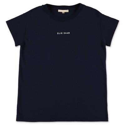 ELIE SAAB blue logo detail cotton jersey t-shirt