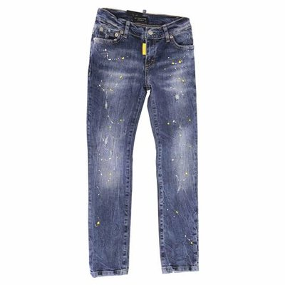 Blue stretch cotton denim vintage effect jeans