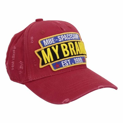MY BRAND red cotton canvas vintage effect baseball cap