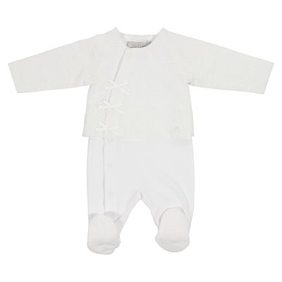 White cotton layered effect romper with jacket