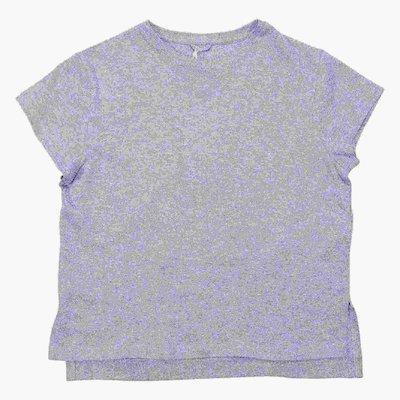 T-shirt argento brillantinata in jersey di cotone