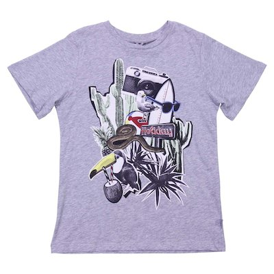 Marled grey cotton jersey t-shirt