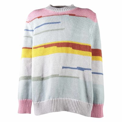 Pullover multicolor in maglia di cotone e lana bambina