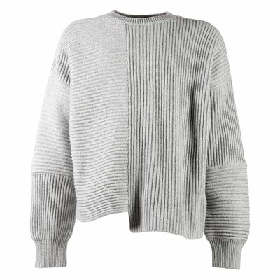 Grey cotton and wool knit jumper