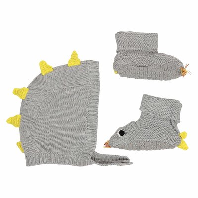 Grey cotton wool hat and shoes set