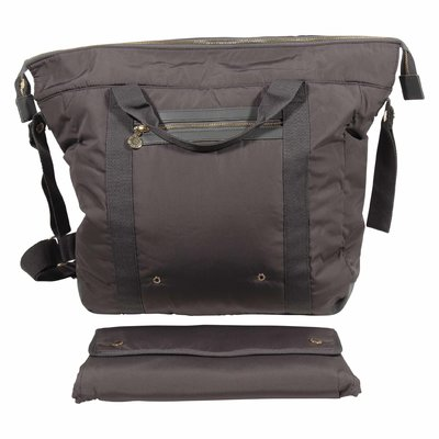 Grey nylon changing bag wearable as a backpack