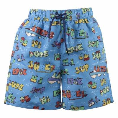 Blue printed nylon swim shorts