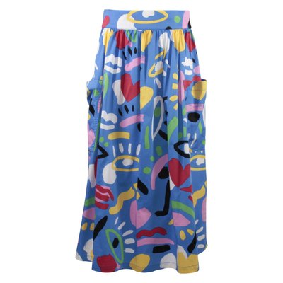 Blue printed cotton poplin skirt