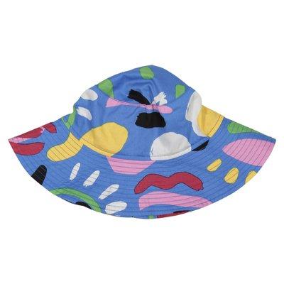 Cappello blu stampato in cotone