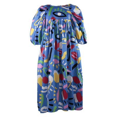 Blue printed cotton poplin dress