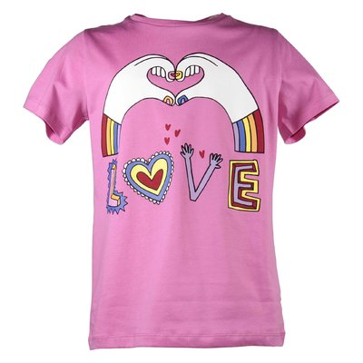 Fuchsia LOVE cotton jersey t-shirt
